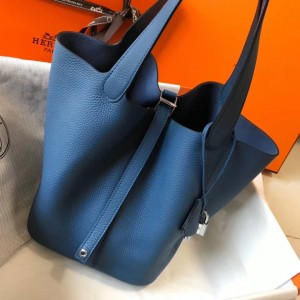Hermes Picotin Lock 22 Bag In Blue Agate Clemence Leather