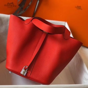 Hermes Picotin Lock 22 Bag In Red Clemence Leather