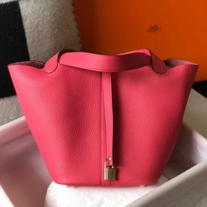 Hermes Picotin Lock 22 Bag In Rose Lipstick Clemence Leather