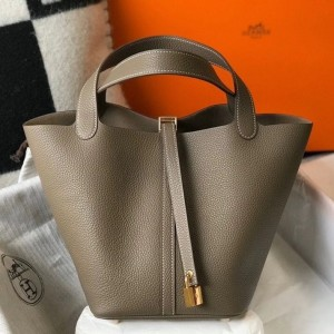 Hermes Picotin Lock 22 Bag In Taupe Clemence Leather