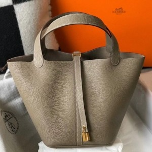 Hermes Picotin Lock 22 Bag In Tourterelle Clemence Leather