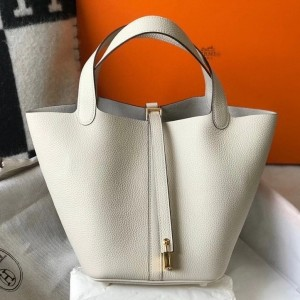 Hermes Picotin Lock 22 Bag In Beton Clemence Leather