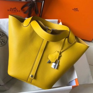 Hermes Picotin Lock 22 Bag In Yellow Clemence Leather