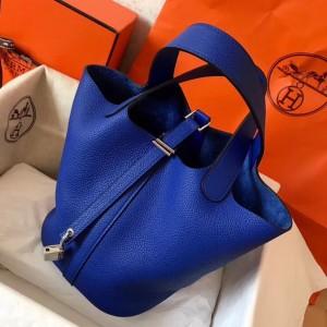 Hermes Blue Electric Picotin Lock PM 18cm Handmade Bag