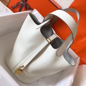 Hermes White Picotin Lock MM 22cm Handmade Bag