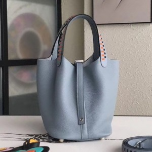 Hermes Blue Lin Picotin Lock 18cm Bag With Braided Handles