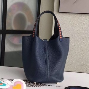 Hermes Navy Blue Picotin Lock 18cm Bag With Braided Handles