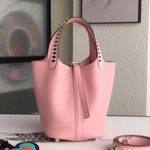 Hermes Pink Picotin Lock 18cm Bag With Braided Handles