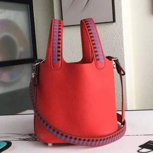 Hermes Red Picotin Lock 18cm Bag With Braided Handles