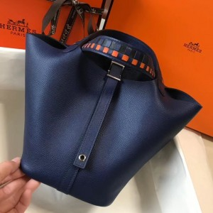 Hermes Sapphire Picotin Lock 18 Bag With Braided Handles