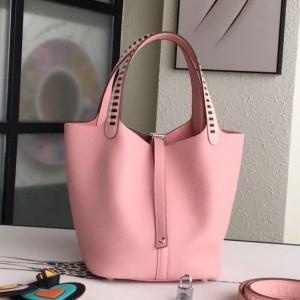 Hermes Pink Picotin Lock 22cm Braided Handle Bag