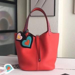 Hermes Red Picotin Lock 22cm Braided Handle Bag