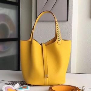 Hermes Yellow Picotin Lock 22cm Braided Handle Bag