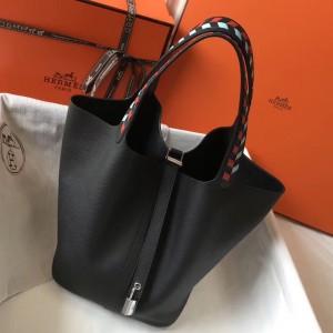 Hermes Black Picotin Lock 22 Bag With Braided Handles