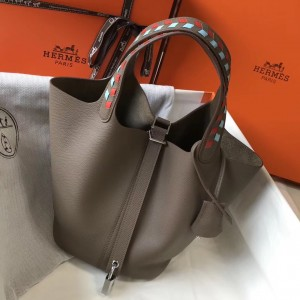 Hermes Taupe Picotin Lock 22 Bag With Braided Handles