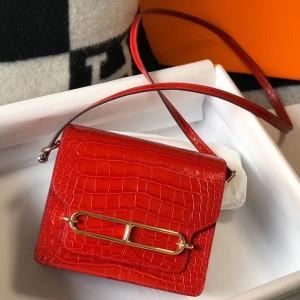 Hermes Roulis Mini Bag In Red Embossed Crocodile Calfskin