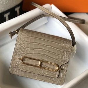 Hermes Roulis Mini Bag In Taupe Embossed Crocodile Calfskin
