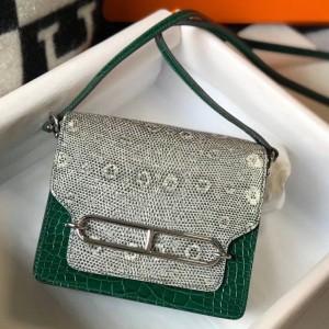 Hermes Roulis Mini Bag In Green Crocodile With Natural Lizard