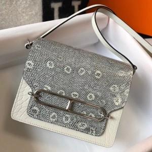 Hermes Roulis Mini Bag In White Crocodile With Natural Lizard
