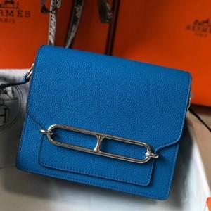 Hermes Mini Sac Roulis 18cm Bag In Blue Hydra Evercolor Calfskin