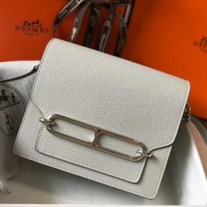 Hermes Mini Sac Roulis 18cm Bag In Pearl Grey Evercolor Calfskin