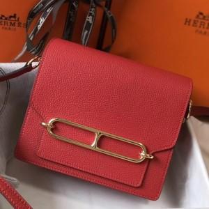 Hermes Mini Sac Roulis 18cm Bag In Red Evercolor Calfskin