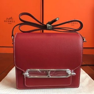 Hermes Mini Sac Roulis Bag In Red Swift Leather