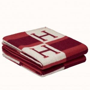 Hermes Red Avalon Bayadere Throw Blanket