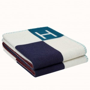 Hermes Ecru Indigo Avalon Vibration Throw Blanket