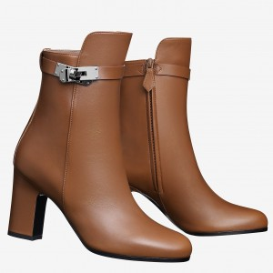 Hermes Camel Joueuse Ankle Boots