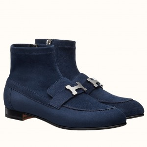 Hermes Blue Saint Honore Ankle Boots
