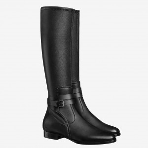 Hermes Soria Boots In Black Calfskin Leather