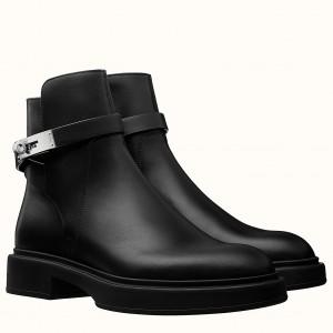 Hermes Veo Ankle Boots In Black Calfskin