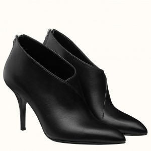 Hermes Virginia Ankle Boot In Black Leather