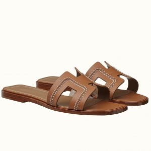 Hermes Oran Sandals In Brown Leather With Stitched Detail
