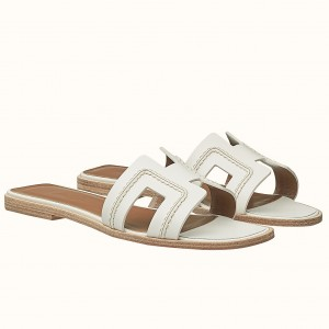 Hermes Oran Sandals In White Leather With Stitched Detail