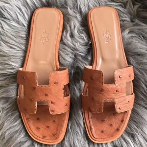 Hermes Oran Sandals In Brown Ostrich Leather