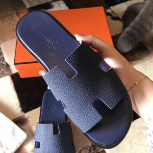 Hermes Izmir Sandals In Navy Blue Clemence Leather