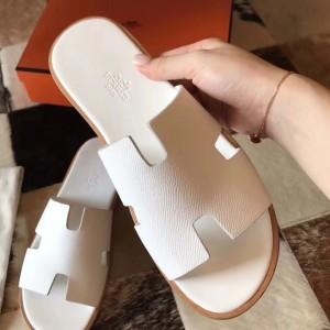 Hermes Izmir Sandals In White Epsom Leather
