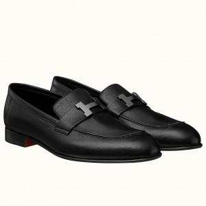 Hermes Men's Paris Loafers In Black Calfskin