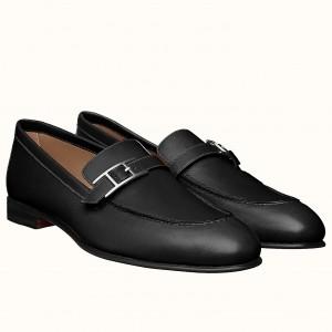 Hermes Men's Monterey Loafers In Black Calfskin