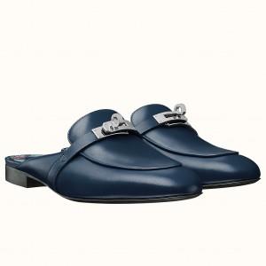 Hermes Oz Mule In Dark Blue Leather