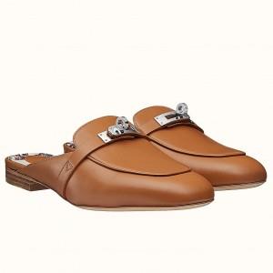 Hermes Oz Mule In Brown Leather