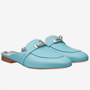 Hermes Oz Mule In Light Blue Calfskin Leather