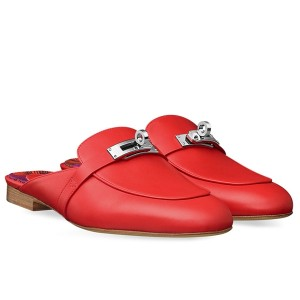 Hermes Oz Mule In Red Calfskin Leather