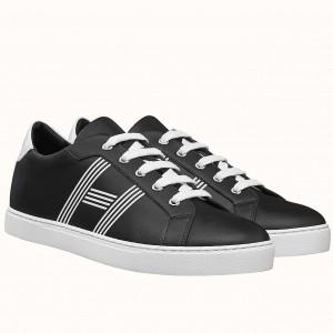 Hermes Avantage Sneakers In Black Calfskin