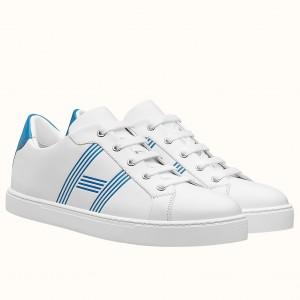 Hermes Avantage Sneakers In White/Mykonos Calfskin