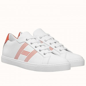 Hermes Avantage Sneakers In White/Orange Calfskin