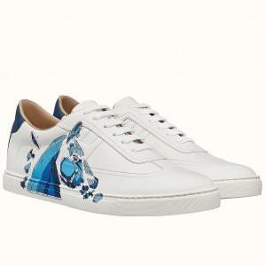 Hermes Quicker Sneakers With Se Plier au Jeu Print