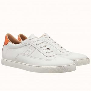 Hermes Quicker Sneakers In White/Orange Calfskin